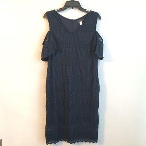 NWOT Simply Styled Navy Jacquard Shoulder Dress
